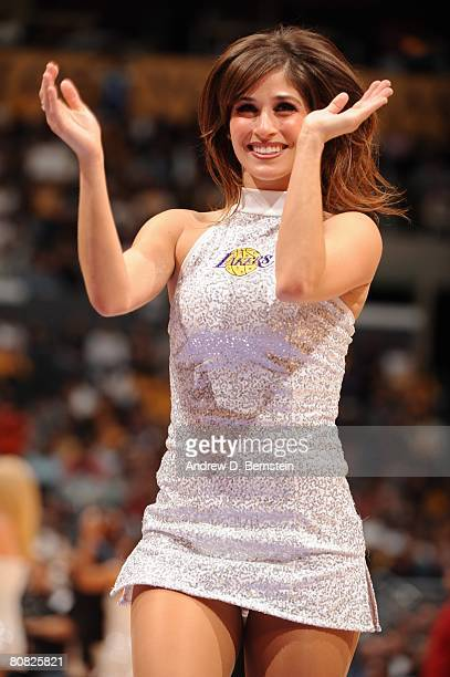 A memeber of the Laker Girls performs in Game One of the Western Conference Quarterfinals between the Denver Nuggets and the Los Angeles Lakers...