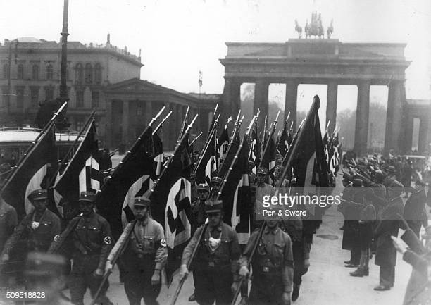 Memebers of Nazi party parade through Berlin France