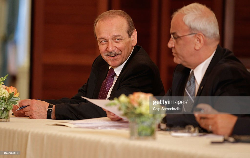 Memebers Of The Palestinian Negotiation Team Yasser Abd Rabbo L And Saeb Muhammad Salih