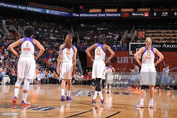 Memebers of the Phoenix Mercury against the Minnesota Lynx in Game 3 of the 2014 WNBA Western Conference Finals on September 2 2014 at US Airways...