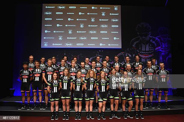 Memebers of the Team GiantAlpecina and Team Liv Plantur pose for a picture during the teamlaunch of Team GIANTAlpecin at the Fench Embassy on January...