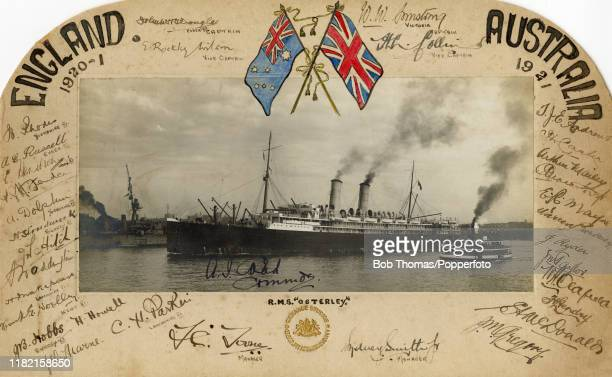 Memento of the MCC England cricket team Tour to Australia, in 1920-1921, featuring a photograph of their ship, the RMS Osterley, and autographs of...