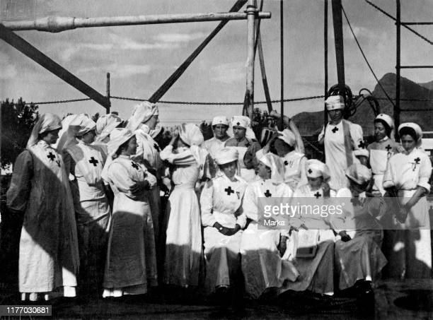 Memfi ship helene of orleans duchess of aosta with the red cross nuses 1912