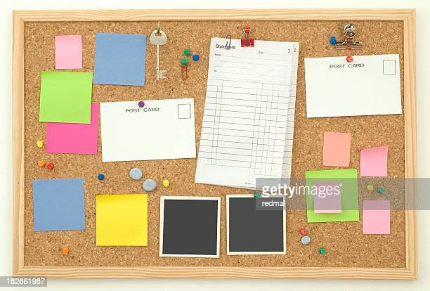 memo board - cork material stock pictures, royalty-free photos & images