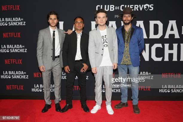Memo Dorantes Jesus Zavala and Raul Briones attend Netflix 'La Balada de Hugo Sanchez' special screening at Alboa Patriotismo on June 13 2018 in...