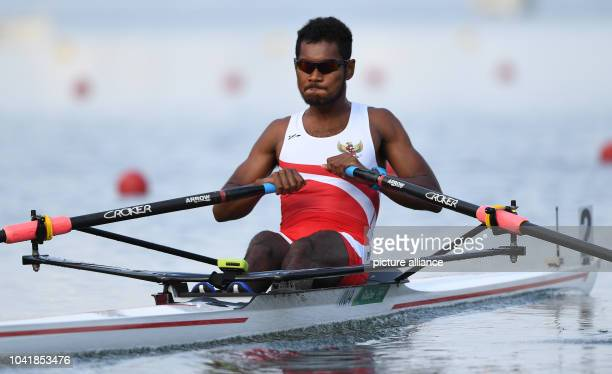 Memo of Iran competes in the Men's Single Sculls Quarterfinals of the Rowing events during the Rio 2016 Olympic Games at Lagoa Stadium in Rio de...