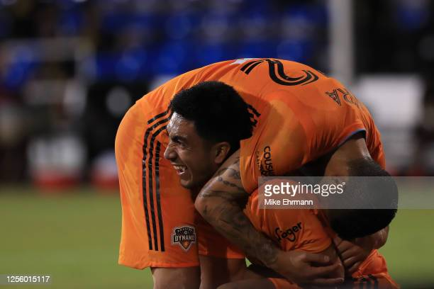 Memo Rodriguez of Houston Dynamo celebrates after scoring the second goal of his team during a match between Los Angeles FC and Houston Dynamo as...