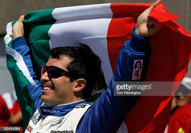 Memo Rojas, driver of the TELMEX Ganassi BMW Riley, celebrates after winning the Grand-Am Rolex Sports Car Series MONTREAL 200 at Circuit Gilles...