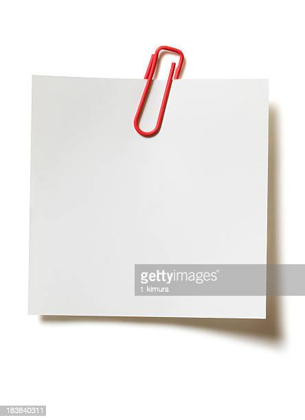 memo with paper clip - paper clips stock photos and pictures