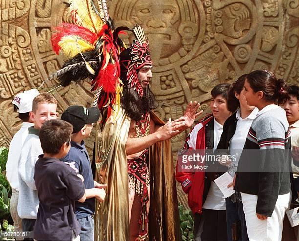 MEMontezuma10503RM The last Aztec Emperor of Mexico Montezuma talks to school kids from San Gabriel Christian School San Gabriel Montezuma explained...