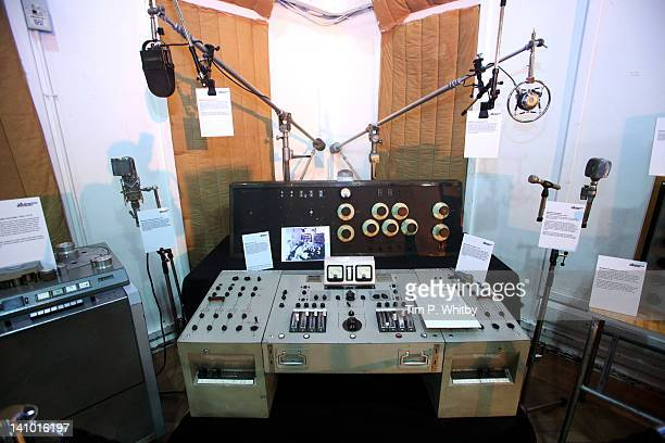 Memorabilia and equipment on show in Studio 2 at Abbey Road Studios on March 9, 2012 in London, England. The music recording studio has been opened...