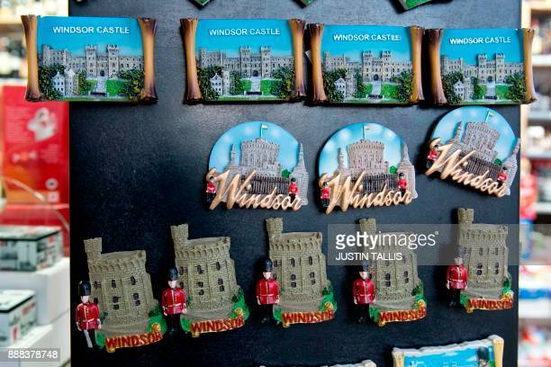 Memorabilia depicting Windsor Castle is pictured for sale in a gift shop in Windsor west of London on December 8 2017 Britain's Prince Harry will...