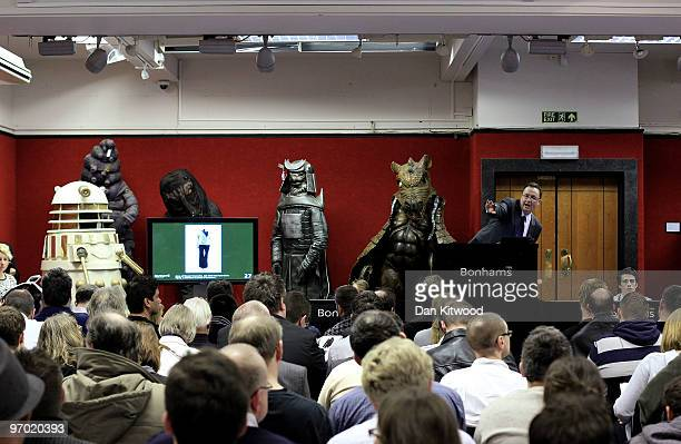 Memorabilia from the hit TV show 'Doctor Who' is auctioned off at Bonham's auction house on February 24 2010 in London England A selection of items...