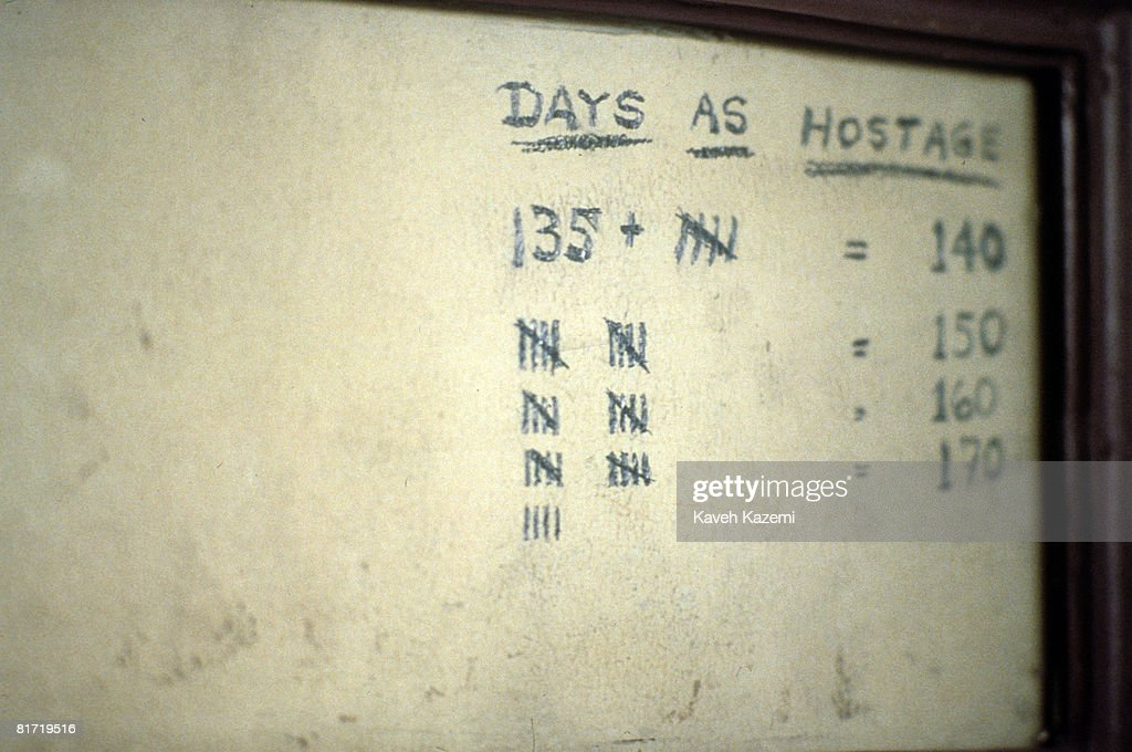 Memorabilia, showing how a hostage kept count of his days in captivity during the Iran hostage crisis, preserved in a frame at the former US embassy in Tehran, 25th September 1994. Fifty-two U.S. diplomats were held hostage at the embassy for 444 days after it was seized and occupied by revolutionary students in 1979.