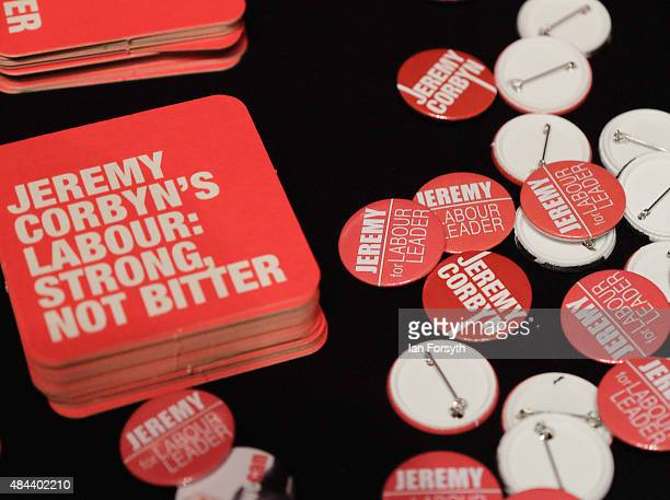 Memorabilia supporting British Labour Party leadership contender Jeremy Corbyn is offered for sale ahead of his arrival to address party supporters...