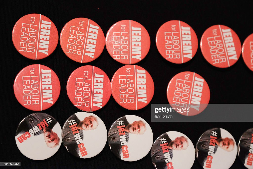 Memorabilia supporting British Labour Party leadership contender Jeremy Corbyn is offered for sale ahead of his arrival to address party supporters as part of a nationwide leadership campaign at the Town Hall on August 18, 2015 in Middlesbrough, England. The Labour party leadership election was triggered by the resignation earlier in the year of Ed Miliband following the party's defeat at the general election. Four candidates were successfully nominated to stand, Andy Burnham, Yvette Cooper, Jeremy Corbyn and Liz Kendall. The result of the campaign will be announced on Saturday 12 September 2015.