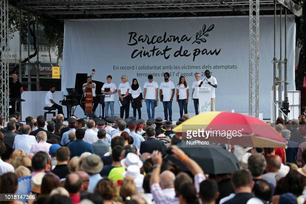 memorial act for the first anniversary of the tribute for the victims of Barcelona terrorist attack on 17th August in Barcelona Spain