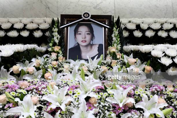 Memorial altar of K-pop star Goo Hara is seen at the Seoul St. Mary's Hospital on November 25, 2019 in Seoul, South Korea. K-pop star Goo Hara of...