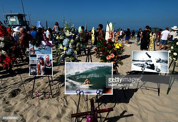 A memorial and photos during the funeral service for the pioneering and legendary skateboarder and surfer Jay Adams who died of a heart attack at...