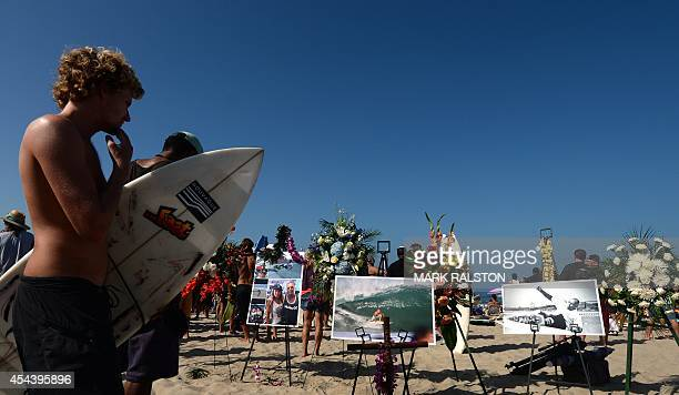 Memorial and photos during the funeral service for the pioneering and legendary skateboarder and surfer Jay Adams who died of a heart attack, at...
