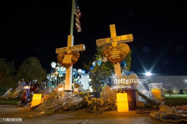 Memorial at a vigil held for shooting victims on November 17 2019 in Santa Clarita California Nathaniel T Berhow a 16 yearoldstudent died from a...