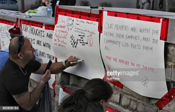 Memorial at Olive Square after 10 people were killed and 15 people injured in a deadly van attack in Toronto Ontario Canada on April 23 2018 Alek...