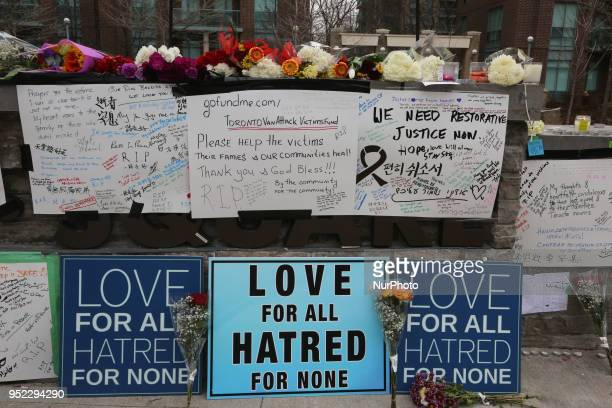 Memorial at Olive Square the day after 10 people were killed and 15 people injured in a deadly van attack in Toronto Ontario Canada on April 23 2018...