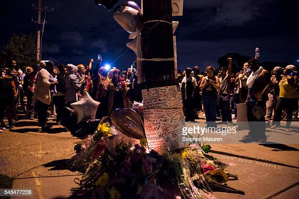 A memorial at the intersection where Philando Castile was shot on July 7 2016 in Falcon Heights Minnesota Castile was shot and killed by a police...