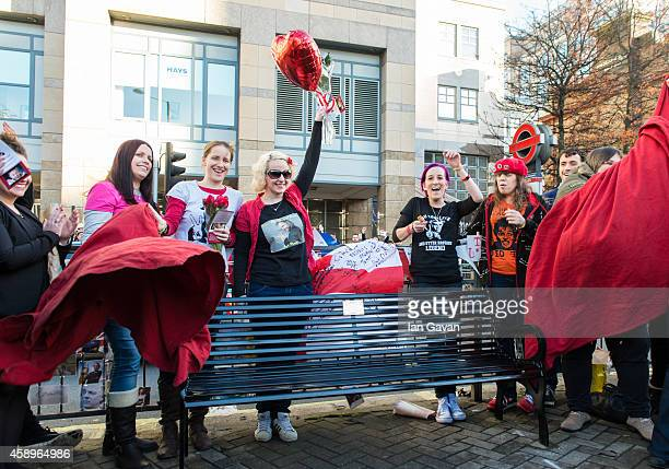 A memorial bench for the late Rik Mayall is unveiled on November 14 2014 in London England
