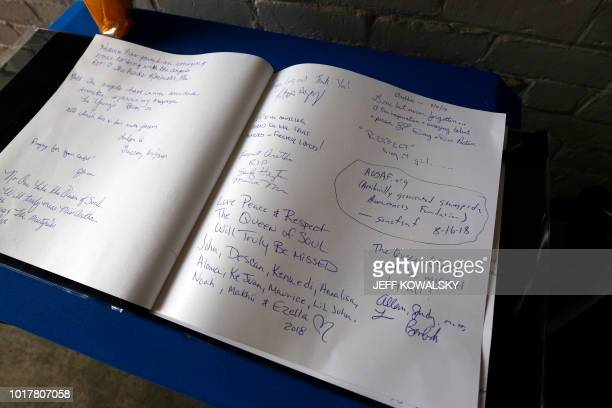 A memorial book is set up at the Motown Museum after it was announced Aretha Franklin passed away on August 16 2018 in Detroit Michigan Aretha...