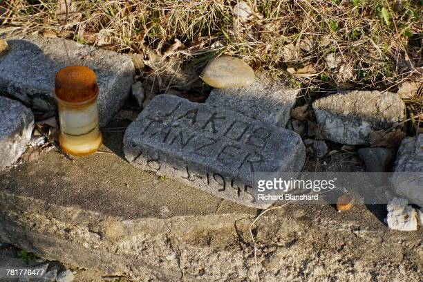 A memorial brick bearing the name of victim Jakob Tanzer at the site of the former BergenBelsen German Nazi concentration camp in Lower Saxony...