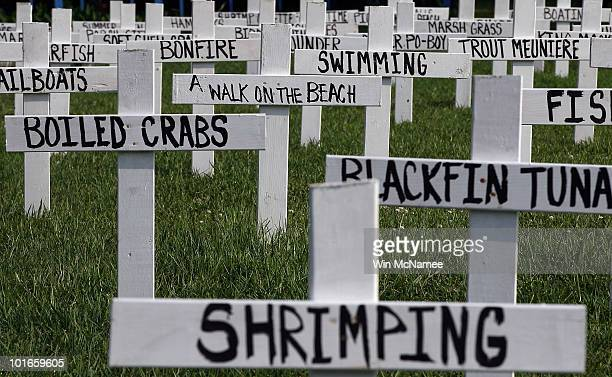 A memorial built by Patrick Shay and his neighbors shows the many things lost due to the Deepwater Horizon oil spill on June 6 2010 in Grand Isle...