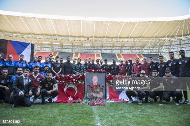 A memorial ceremony is held for Czech football player Frantisek Rajtoral who was found dead Sunday in his home in Gaziantep at a stadium in Gaziantep...