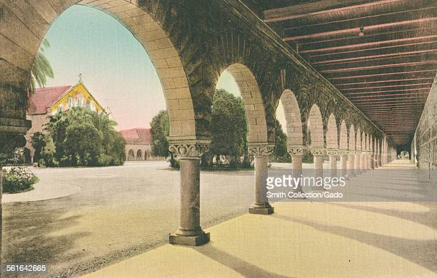 Memorial Church through the arches at Stanford University California 1924