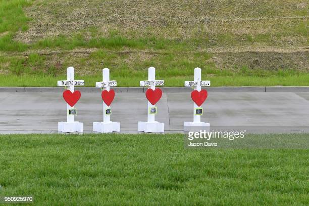 Memorial Crosses are Erected by Greg Zanis with Crosses for Losses as Community members create makeshift memorials for and stop by to pay respects to...