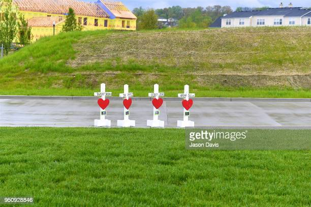Memorial Crosses are Erected by Greg Zanis with Crosses for Losses on April 24 2018 in Antioch Tennessee as Community members create makeshift...