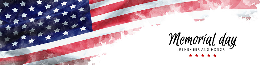 Memorial Day background illustration. text Memorial Day, remember and honor with America flag watercolor painting isolated on white background, vintage grunge style 1221955404