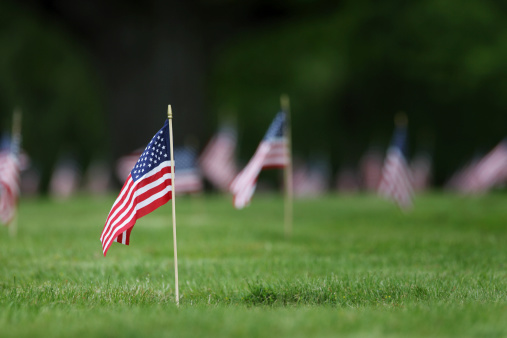 Memorial Day grave site flags. 172330385