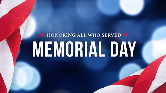Memorial Day - Honoring All Who Served Text Over Blue Lights Background and American Flags 1220181639