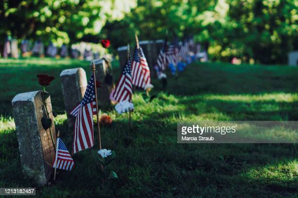 memorial day military veteran graves - memorial day remembrance stock pictures, royalty-free photos & images
