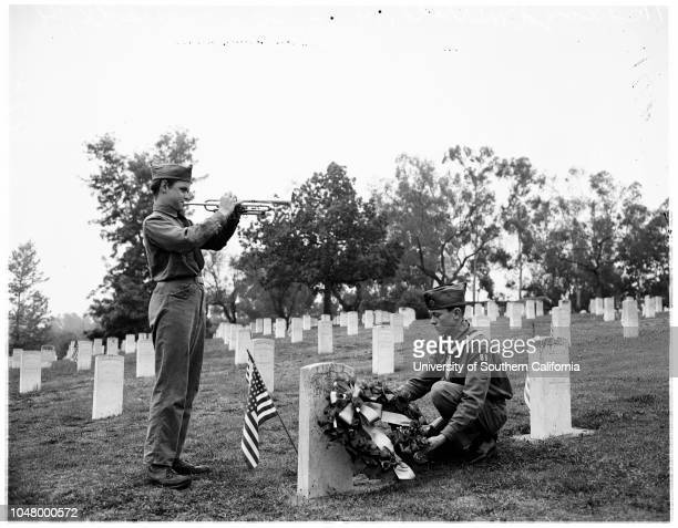Memorial Day services at VA Cemetary Sawtelle May 30 1951 Colonel R A Bringham Bishop Timothy ManningDr Robert Ziegler Honor guard of Knights of...