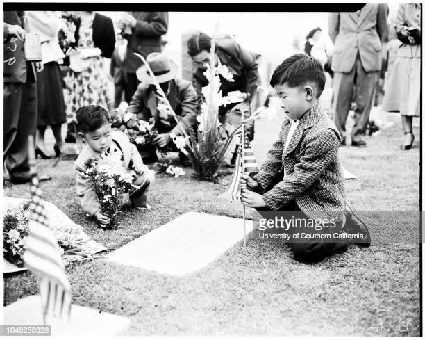 Memorial Day services Nisei rites 30 May 1952 Bobby Watanabe 4 yearsPaul Watanabe 7 1/2 yearsMrs Neguma TanouyeReverend R Nozaki Buddhist priests...