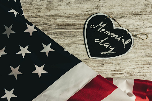Memorial day text in black heart and united states flag, vintage style 1143007258