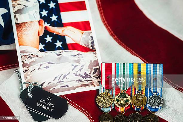 us memorial day. veterans day. military memorial with soldier. medals - memorial day remembrance stock pictures, royalty-free photos & images