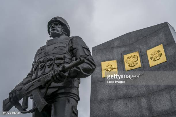Memorial dedicated to Russian peacekeeping soldiers after the 1992 to 1993 Abkazia Georgia War stands in Sukhum in Abkhazia.