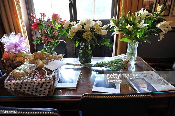 "Memorial flowers and gifts on a desk inside former Senator Edward M. ""Ted"" Kennedy's office in the Russell Senate office building in Washington,..."
