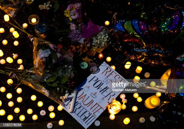 Memorial for Daunte Wright stands in the neighborhood where he was shot and killed on April 12, 2021 in Brooklyn Center, Minnesota. People have taken...