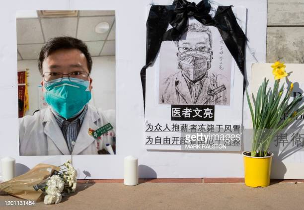 TOPSHOT A memorial for Dr Li Wenliang who was the whistleblower of the Coronavirus Covid19 that originated in Wuhan China and caused the doctors...