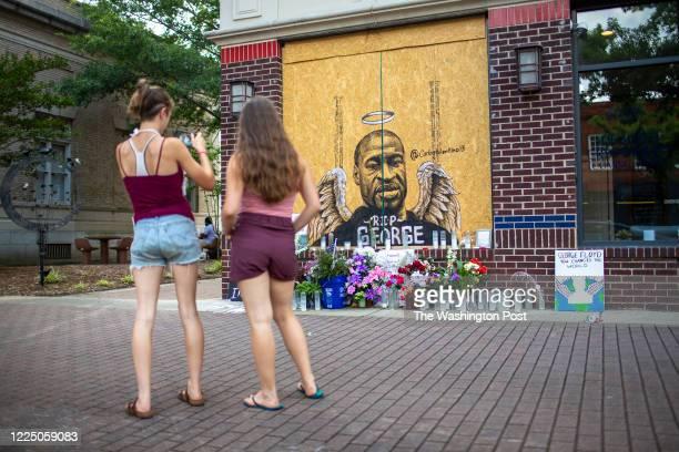 Memorial for George Floyd along Hay Street in downtown Fayetteville, N.C., Saturday, June 20, 2020. Floyd died in the custody of a white Minneapolis...