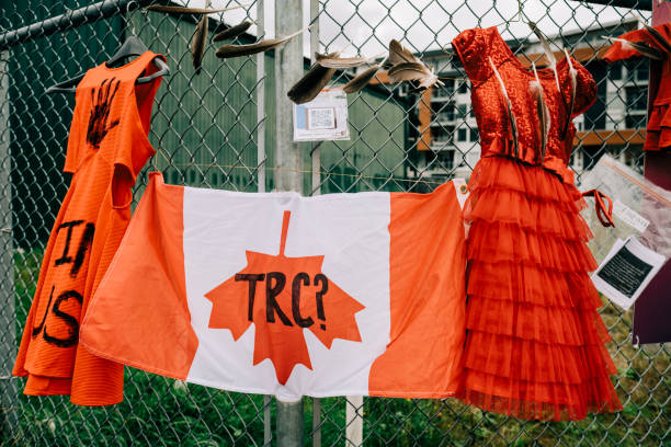 A memorial for indigenous people subject to Canada's residential School system on the National Day for Truth and Reconciliation